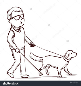 blind man with white dog