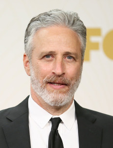 "LOS ANGELES, CA - SEPTEMBER 20: TV personality Jon Stewart, winner of the Outstanding Variety Talk Series for ""The Daily Show with Jon Stewart"", poses in the press room at the 67th Annual Primetime Emmy Awards at Microsoft Theater on September 20, 2015 in Los Angeles, California. (Photo by Mark Davis/Getty Images)"